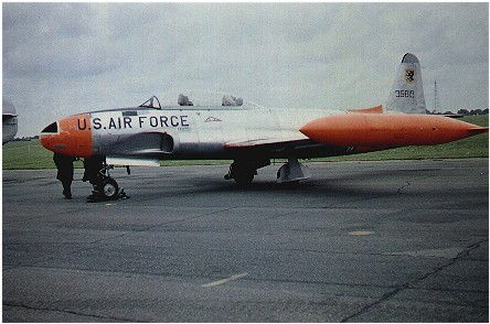 Lockheed T-33A (53-5819) 81st Ftr. Bomb Wing at Duxford 14 August 1960 for Royal Observer Corps display. Carrying wing shield on fin and Day-Glo anti-collision markings.