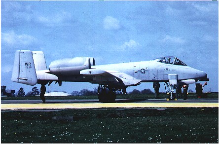 A-10A (77-0235/WR) 81st TFW has final checks on ramp before take off. Still in original grey colour scheme, before camouflage was brought in. Bentwaters May 1979.