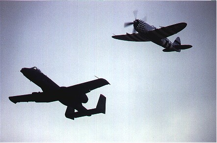 "A-10A Thunderbolt II with P-47D Thunderbolt displaying at ""Open House"" at Bentwaters 14 September 1991."