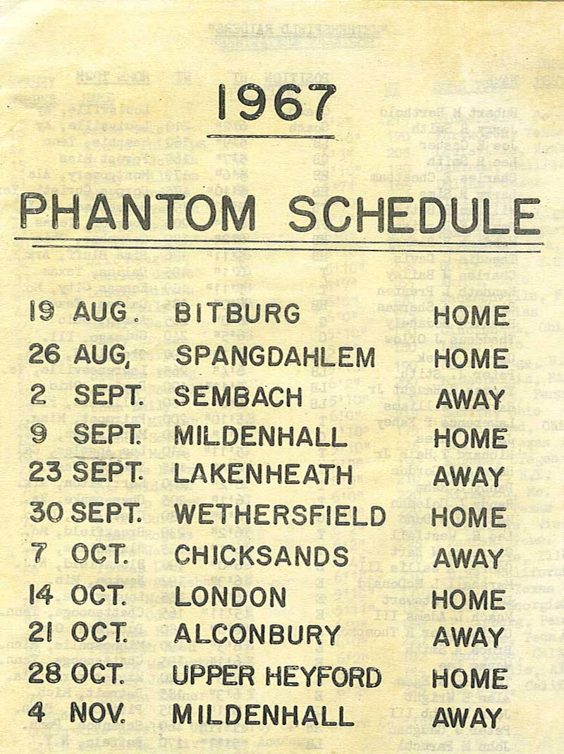 Phantoms program schedule