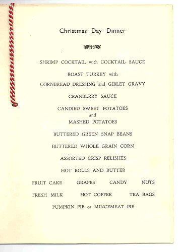 RAF Station Woodbridge, Christmas Menu 1957 - menu
